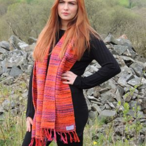 Hand woven scarf japanese bridge pumpkin orange
