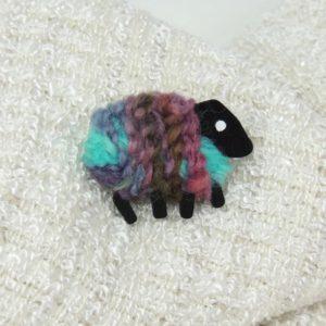 lizzyC|sheep|brooch|aqua-pink-green