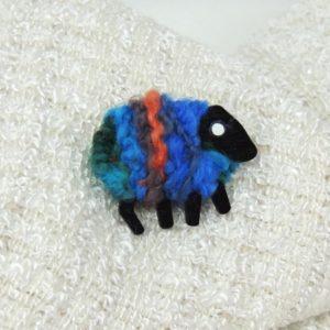 LizzyC Sheep Brooch Biba blue_orange_teal