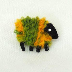 LizzyC Sheep Pin green_and_gold