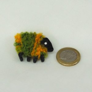 scale euro-coin green_and_gold sheep brooch