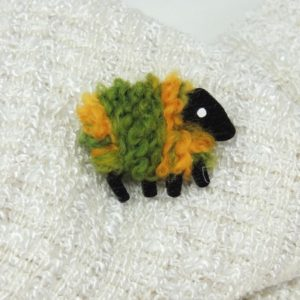 LizzyC Sheep Brooch Green_and_Gold