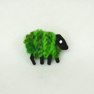 front|patrica|brooch|green|sheep|