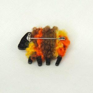 PondeRosa|sheep|brooch|back-view