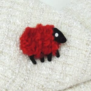 ruby sheep brooch front
