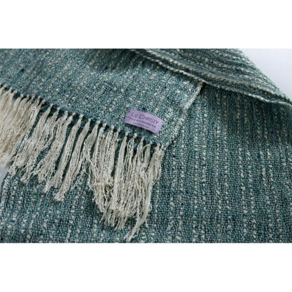 Hand woven luxury wrap Renaissance Tabby Aqua