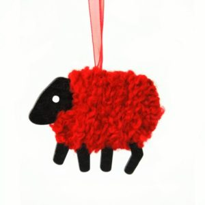 LizzyC Sheep Christmas decoration red