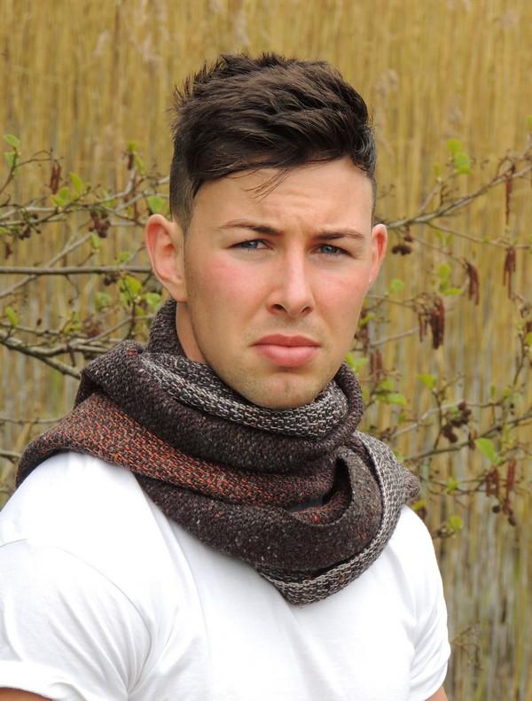 Hand woven men's scarf Kavanagh inspired October morning