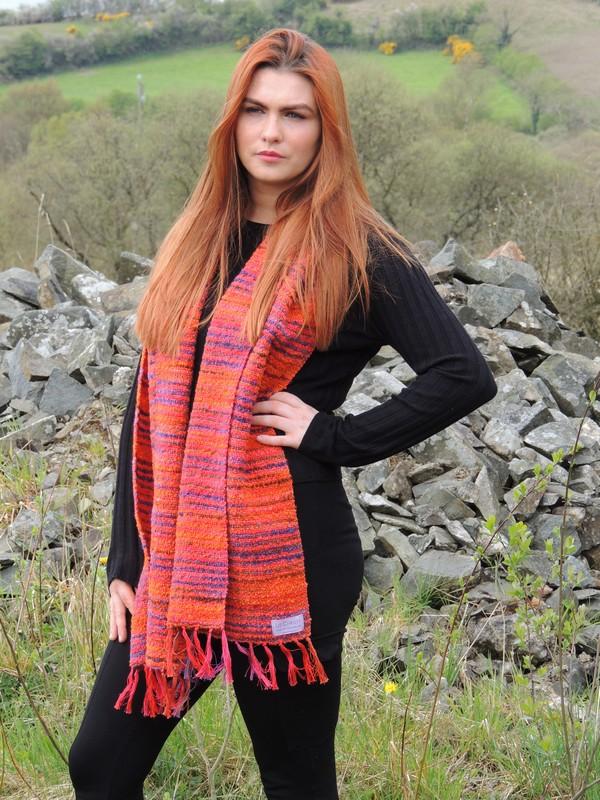 Hand woven scarf japanese bridge pumpkin orange