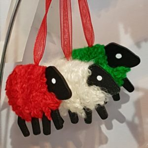 LizzyC Sheep Christmas Decoration red white and green